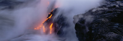 Lava Flowing Into the Pacific Ocean, Volcano National Park, Hawaii, USA Photographic Print by  Panoramic Images