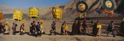Group of People Walking, Labrang Monastery, Gansu Province, China Photographic Print by  Panoramic Images