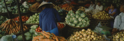 Customer Buying Vegetables in a Vegetable Market, Hue, Vietnam Photographic Print by  Panoramic Images