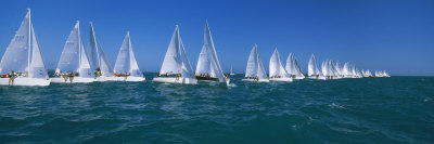 Sailboat Racing in the Ocean, Key West, Florida, USA Photographic Print by  Panoramic Images