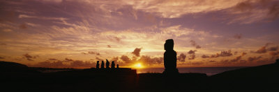 Silhouette of Moai Statues at Dusk, Tahai Archaeological Site, Rano Raraku, Easter Island, Chile Photographic Print