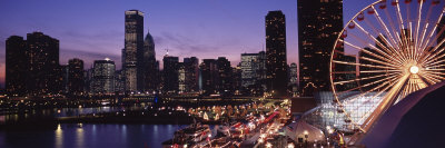 Lit Up Ferris Wheel at Dusk, Navy Pier, Chicago, Illinois, USA Photographic Print by  Panoramic Images