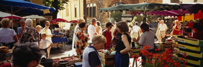 Group of People in a Street Market, Ceret, France Photographic Print by  Panoramic Images