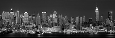 West Side Skyline at Night in Black and White, New York, USA Photographic Print by  Panoramic Images