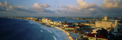 Hotels and Resorts on the Beach, Cancun, Mexico Photographic Print by  Panoramic Images