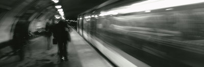 Subway Train Passing through a Subway Station, London, England Photographic Print by  Panoramic Images