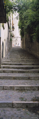 Narrow Staircase to a Street, Girona, Costa Brava, Catalonia, Spain Photographic Print by  Panoramic Images