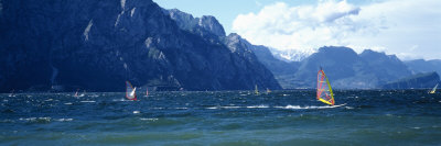 Windsurfing on a Lake, Lake Garda, Italy Photographic Print by  Panoramic Images