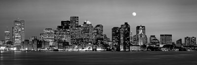 Black and White Skyline at Night, Boston, Massachusetts, USA Fotografisk tryk af Panoramic Images,