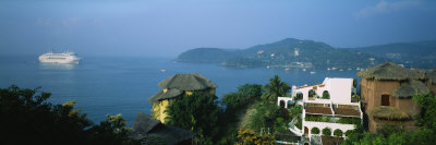 Huts on a Hilltop, Zihuatanejo, Guerrero, Mexico Photographic Print by  Panoramic Images