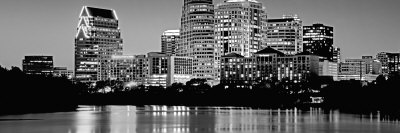 Black and White Skyline, Austin, Texas, USA Photographic Print by  Panoramic Images