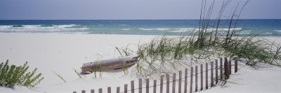 Fence on the Beach, Alabama, Gulf of Mexico, USA Fotografie-Druck von  Panoramic Images