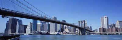 Skyscrapers in a City, Brooklyn Bridge, New York, USA Photographic Print
