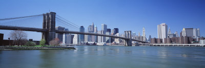 Skyscrapers in a City, Brooklyn Bridge, New York, USA Photographic Print by  Panoramic Images