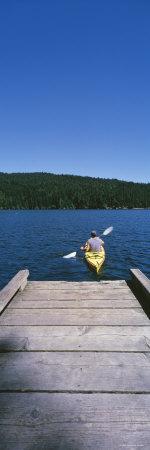 Kayaker on a Lake, Mountain Lake, Orcas, Washington State, USA Photographic Print by  Panoramic Images