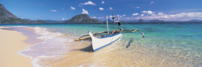 Fishing Boat Moored on the Beach, Palawan, Philippines Photographic Print by  Panoramic Images