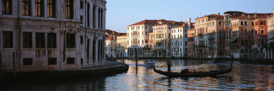 Gondola in a Canal, Grand Canal, Venice, Italy Photographic Print by  Panoramic Images