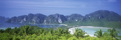 Mountain Range and Trees in the Island, Phi Phi Islands, Thailand Photographic Print by  Panoramic Images