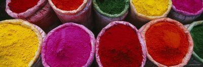 Various Powder Paints, Braj, Mathura, Uttar Pradesh, India Photographic Print by  Panoramic Images