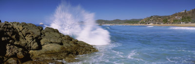 Waves Breaking Against Rocks, Puerto Escondido, Mexico Photographic Print by  Panoramic Images