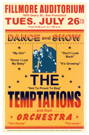 The Temptations, Fillmore Auditorium, 1966 Kunsttryk