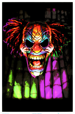 Evil Clown Face Blacklight Poster