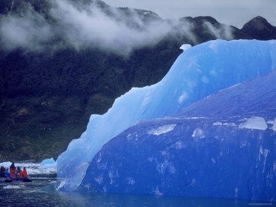Blue Iceberg, San Rahael Glacier, Chilean Fjords, Chile, South America Premium Photographic Print by Pete Oxford