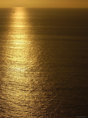 Fishing Boat in Distance on Sea at Sunset, Manabi Province, Ecuador Premium Photographic Print by Pete Oxford