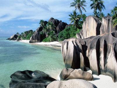 Rocky Coast and Beach, La Digue, Anse Source D'Argent, Seychelles Premium Photographic Print by  Reinhard