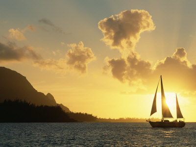 Sailing Yacht at Sunset off Coast of Hanalai Bay, Kauai, Hawaii, USA Premium Photographic Print by Rolf Nussbaumer