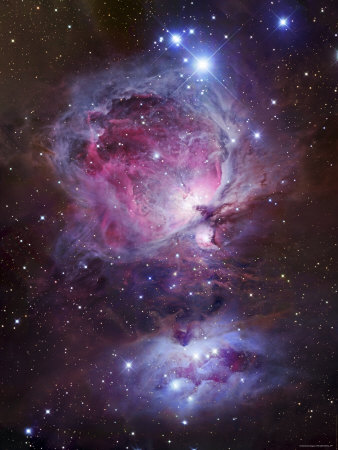 M42, the Orion Nebula (Top), and NGC 1977, a Reflection Nebula (Bottom) Fotografie-Druck von  Stocktrek Images