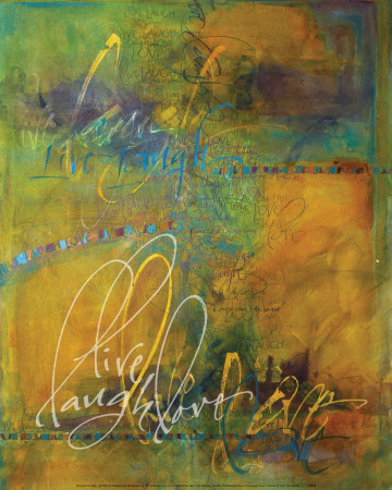 Live, laugh, love creative cursive writing artwork by Teri Martin