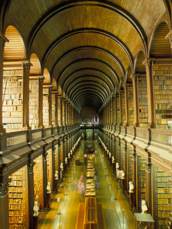 Gallery of the Old Library, Trinity College, Dublin, County Dublin, Eire (Ireland) Fotografisk tryk af Bruno Barbier