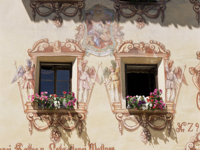Mural Surrounding Cafe Windows, St. Wolfgang, Salzburg Province, Austria Photographic Print by Philip Craven