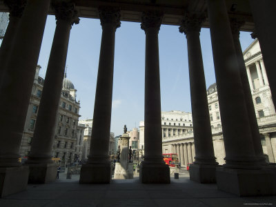 Bank of England Seen from the Steps of the Royal Exchange, City of London, London, England Photographic Print by Ethel Davies