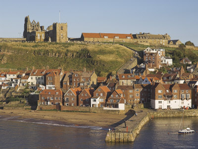 Abbey Ruins, Church, Sandy Beach and Harbour, Whitby, North Yorkshire, Yorkshire Photographic Print by Neale Clarke