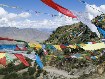 Prayer Flags, Ganden Monastery, Near Lhasa, Tibet, China Fotografie-Druck