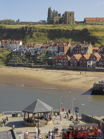 Whitby Abbey, Sandy Beach and Harbour, Whitby, North Yorkshire, Yorkshire, England Photographic Print by Neale Clarke