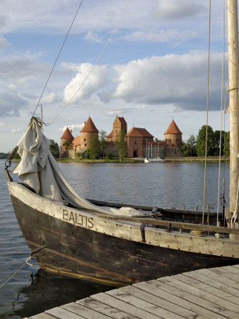 Traditional Boat and Trakai Castle, Trakai, Near Vilnius, Lithuania, Baltic States Photographic Print by Gary Cook