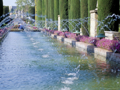 Fountains in Gardens, Cordoba, Andalucia (Andalusia), Spain Photographic Print