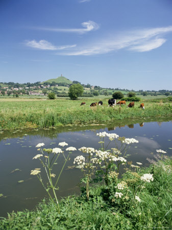 River Brue with Glastonbury Tor in the Distance, Somerset, England, United Kingdom Photographic Print by Chris Nicholson
