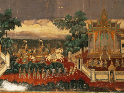 Mural of the Ramayana on Wall of the Royal Palace, Phnom Penh, Cambodia, Southeast Asia Photographic Print by Gavin Hellier