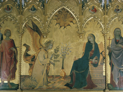 The Annunciation, Simone Martini, Uffizi, Florence, Tuscany, Italy Photographic Print by Walter Rawlings