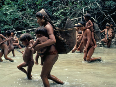 Yanomami Indians Going Fishing, Brazil, South America Photographic Print by Robin Hanbury-tenison
