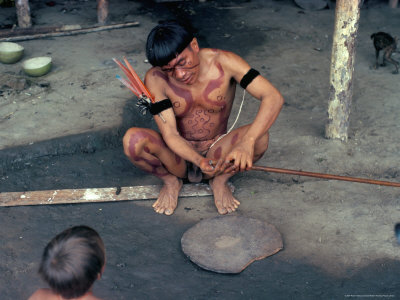 Yanomami Man Preparing Hallucinogenic Snuff, Brazil, South America ...