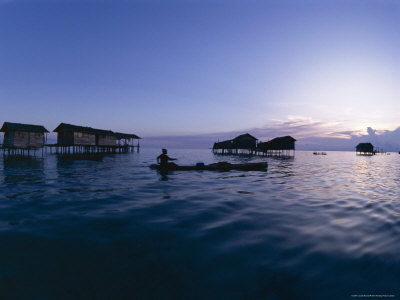 Stilt House Villages Over the Sea, Lived in by Bajau Families, Sabah, Island of Borneo, Malaysia Photographic Print by Lousie Murray