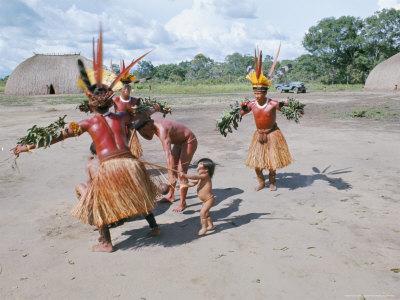 Kamayura Indians Dancing the Fish Dance, Xingu, Brazil, South America Photographic Print by Robin Hanbury-tenison