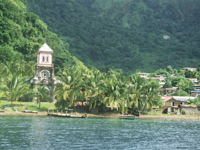 Village of Soufriere and Church from the Sea, Dominica, Windward Islands Photographic Print by Lousie Murray