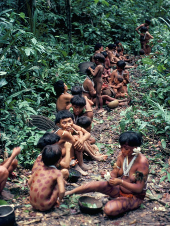 Yanomami on the Way to a Feast, Brazil, South America Photographic Print by Robin Hanbury-tenison