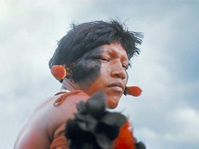 Portrait of a Kamayura Indian, Xingu, Brazil, South America Photographic Print by Robin Hanbury-tenison
